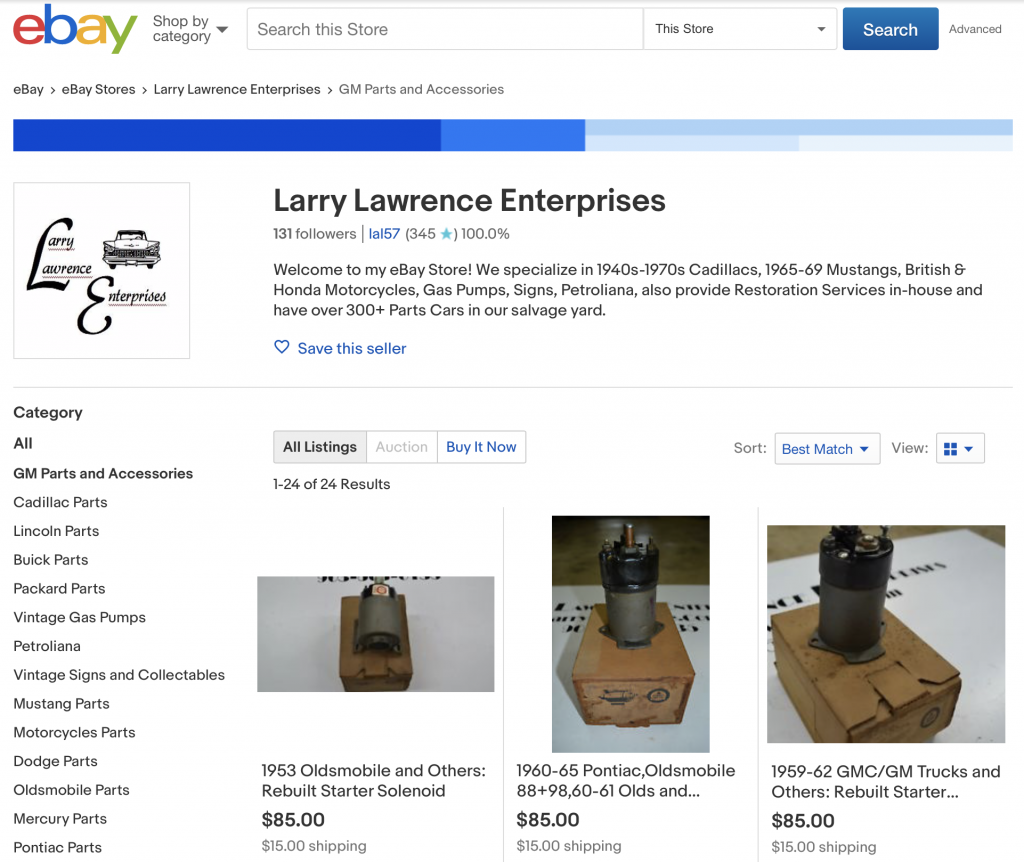 Larry Lawrence eBay Store